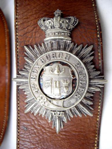ROXBURGH RIFLES BADGE & Hall Marked Silver Accoutrements on Original Leather Belt & Pouch Bag